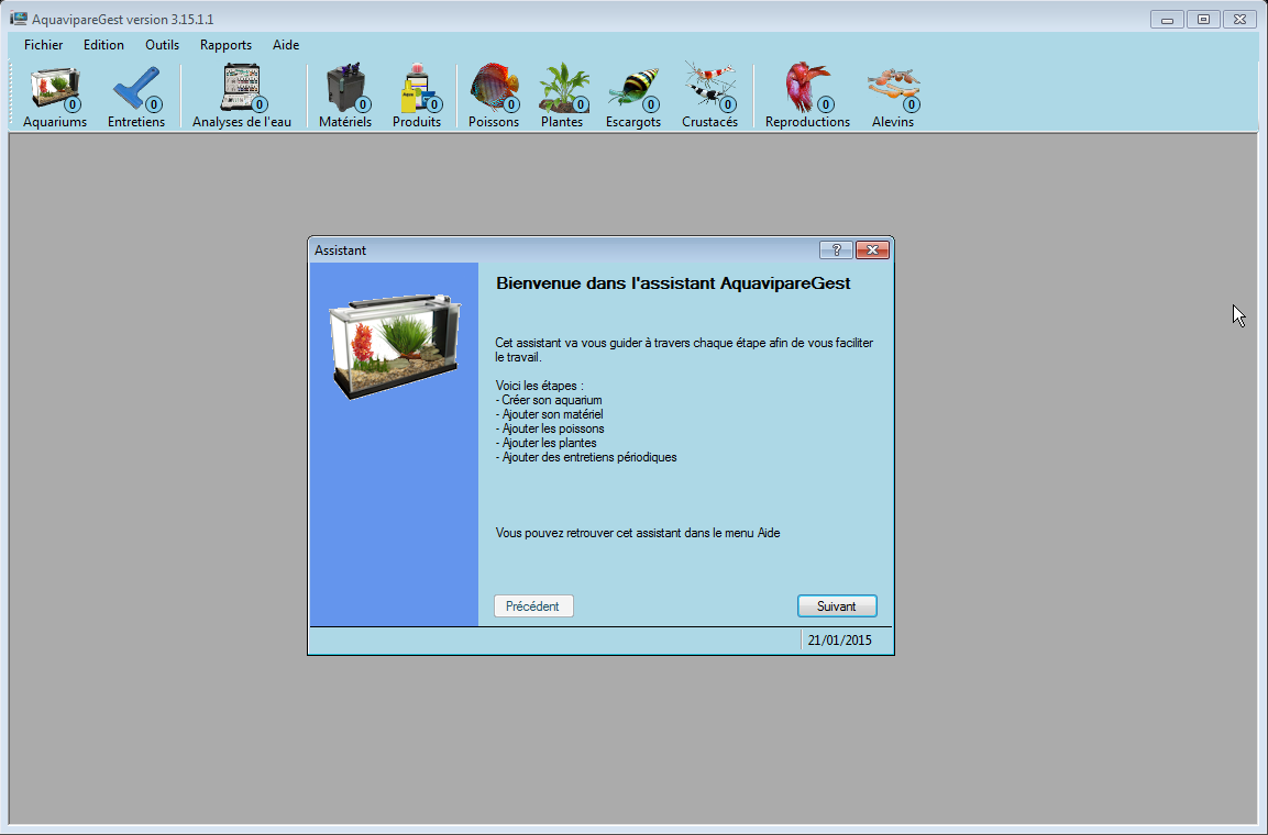 Téléchargement du logiciel AquavipareGest, logiciel d'aquariophilie, logiciel de gestion d'aquariums, outil de gestion de ses aquariums...